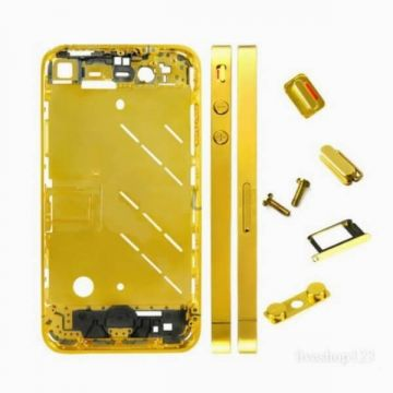 Frame and metallic border bezel for iPhone 4 Gold