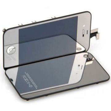 Complete Kit: Glass Digitizer & LCD Screen & Frame & Backcover First Quality iPhone 4S Mirror Silver