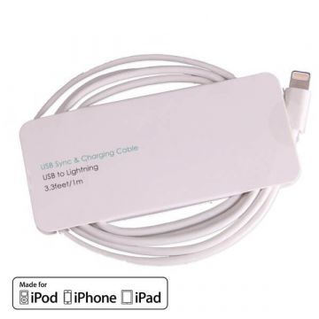 Câble Lightning blanc certifié Apple Made for iPhone (MFI)