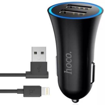 Hoco double USB car charger + Lightning cable