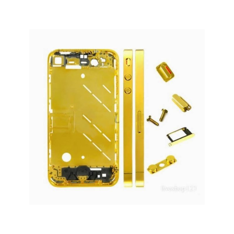 Frame and metallic border bezel for iPhone 4S Gold