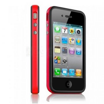 Bumper – Rode en zwarte rand in TPU IPhone 4 & 4S