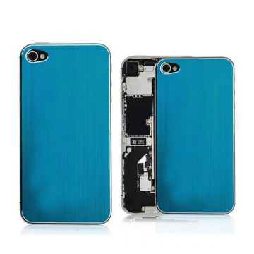 Vervangings Backcover Blauw - Geborsteld aluminium look IPhone 4