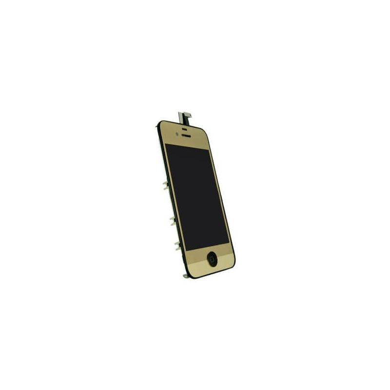 Gold Mirror Glass Digitizer, LCD Screen and Full Frame iPhone 4
