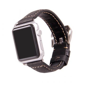 Leather black Apple Watch 42mm bracelet with adapters