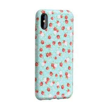 Blue case with flower print iPhone X