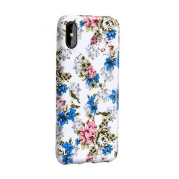 White case with flower print iPhone X