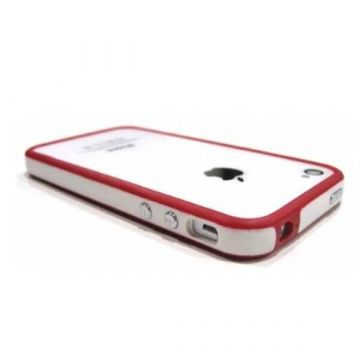 Bumper - rode en witte rand in TPU IPhone 4 & 4S