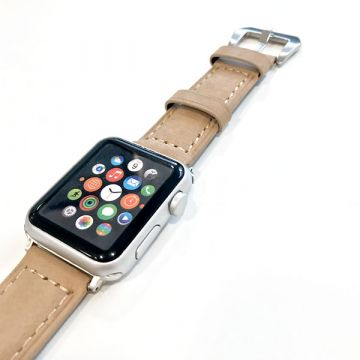 Leather beige Apple Watch 42mm bracelet with adapters