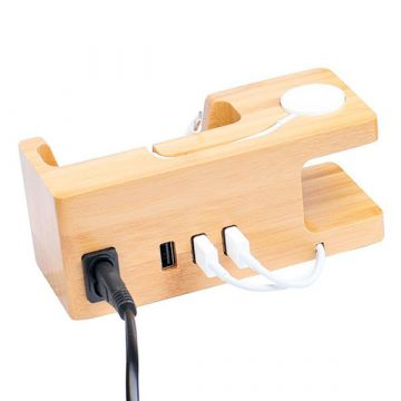 Station de charge en bois pour Apple Watch 38 et 42mm et iPhone