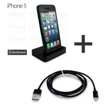 2-in-1 iphone dock en apple lightning kabel zwart - iPhone 5 accessoires