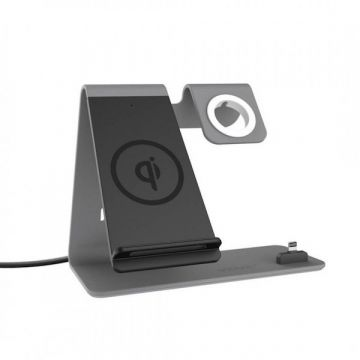 Station de charge QI et lightning pour Apple Watch 38mm, 42mm et iPhone Vidvie