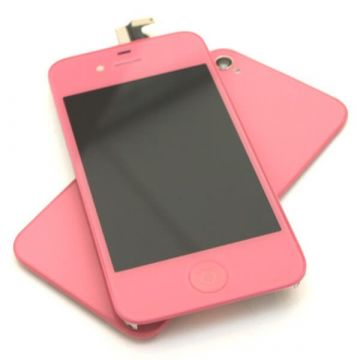 Complete Kit: Glass Digitizer & LCD Screen & Frame & Backcover First Quality iPhone 4 pink