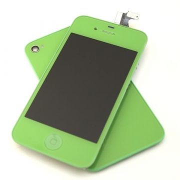 Complete Kit: Glass Digitizer & LCD Screen & Frame & Backcover First Quality iPhone 4S green