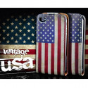 Flip Over Cover Case USA flag vintage Look iPhone 5