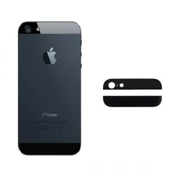 Black Bottom and Top Glass Back Cover iPhone 5