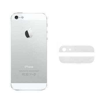 White Bottom and Top Glass Back Cover iPhone 5