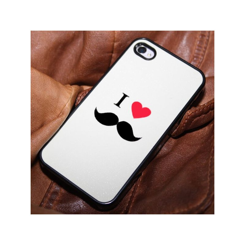 iLove Mustache Case White iPhone 4 4S