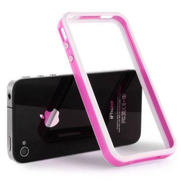 Bumper – Witte en roze rand in TPU IPhone 4 & 4S