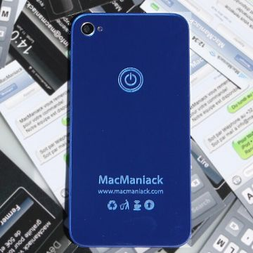 Vervangings MacManiack backcover glas IPhone 4 Blauwe Spiegel