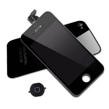 Original Quality Complete Kit: Glass Digitizer, LCD Screen, Frame, Backcover and Button for iPhone 4S Black