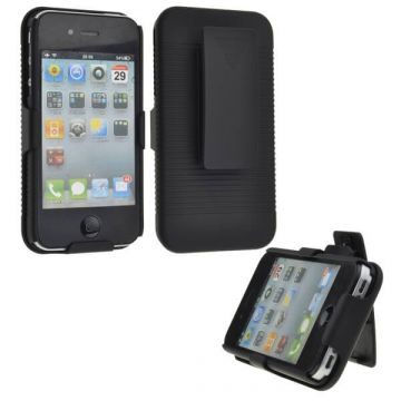 Sliding Hard Case Holster with Belt Clip for iPhone 4 4S