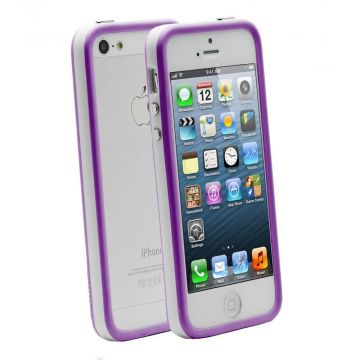 TPU Bumper White and Purple for iPhone 5