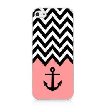 Coque iPhone 5C Navy Rose Ancre et chevrons