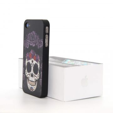 Hardcase for iPhone 4 4S Skull and flowers