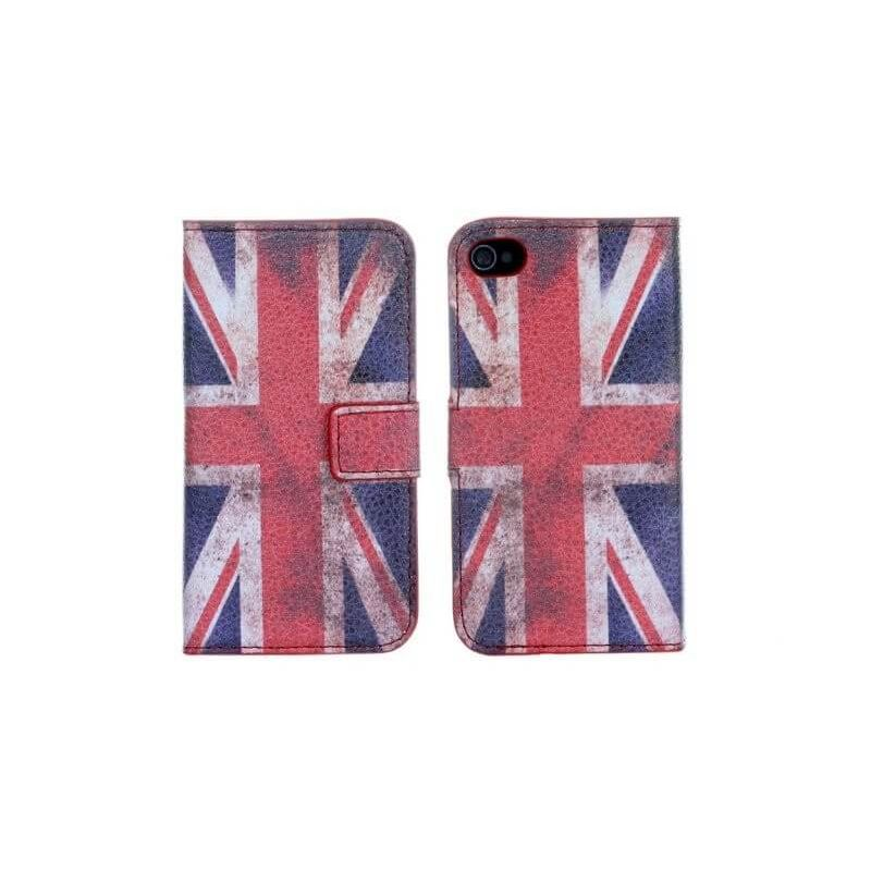 Flip Over Cover Case UK Flag Vintage Look iPhone 4 4S