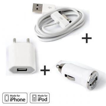 Pack Chargeur 3 en 1 iPhone 3G 3GS 4 4S Blanc